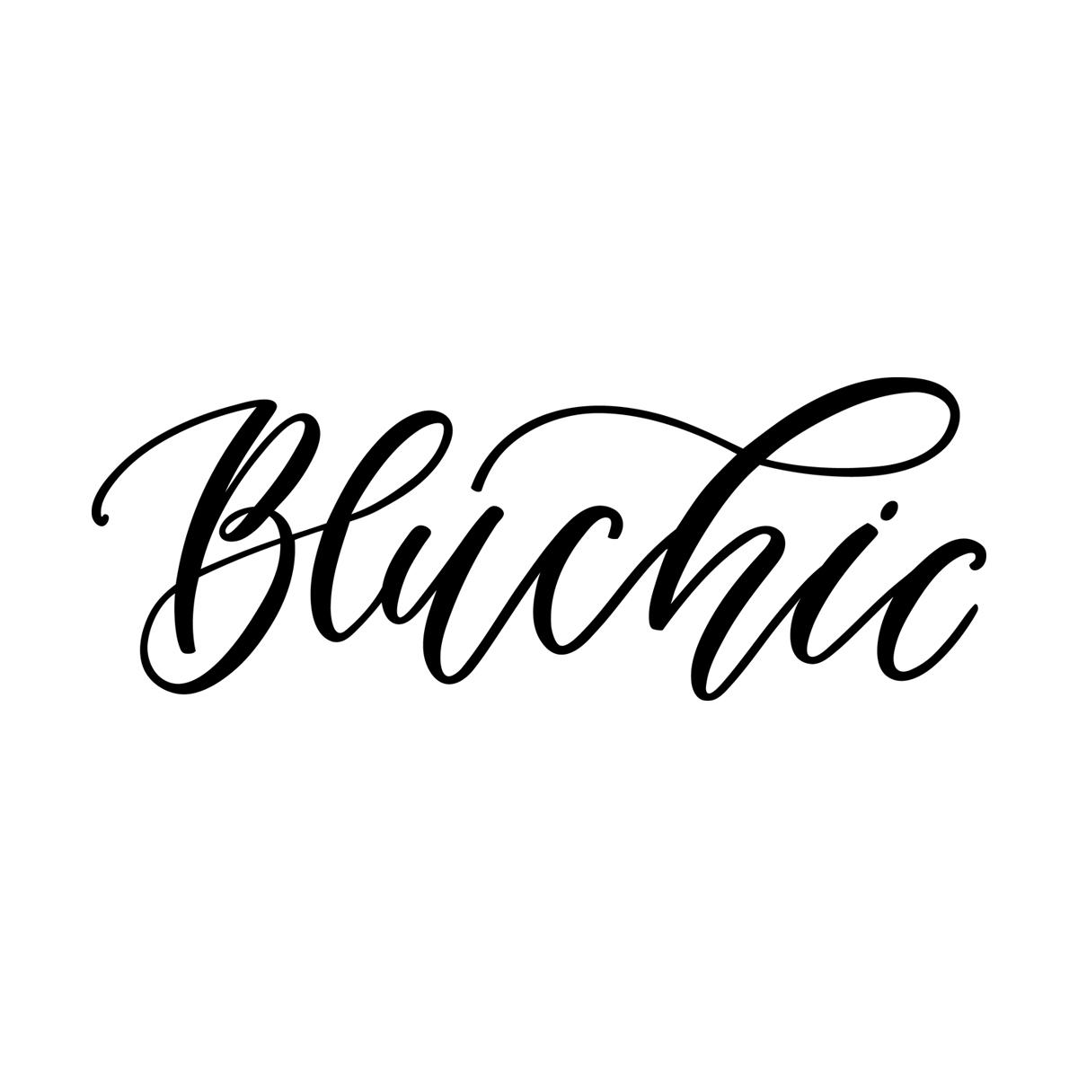 Bluchic hand-lettered logo