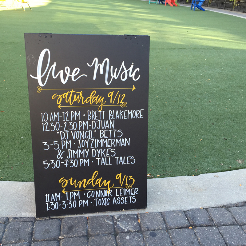 Chick Events hand-lettered chalk sign