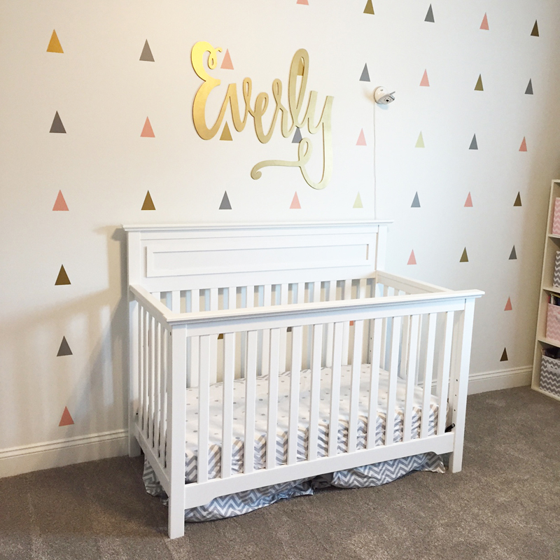 Everly baby name hand-lettered laser-cut wood sign