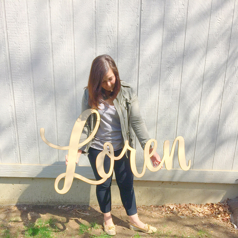 Loren hand-lettered laser-cut wood sign