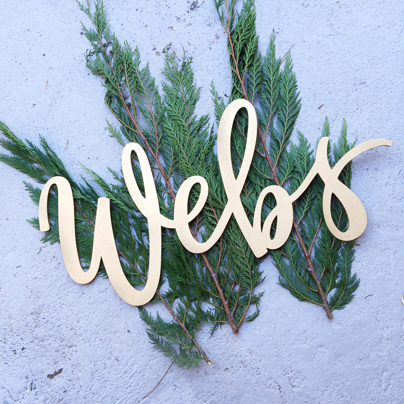 Webs last name hand-lettered laser-cut wood sign