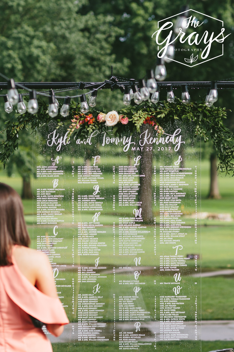 custom acrylic seating chart | hand-lettered