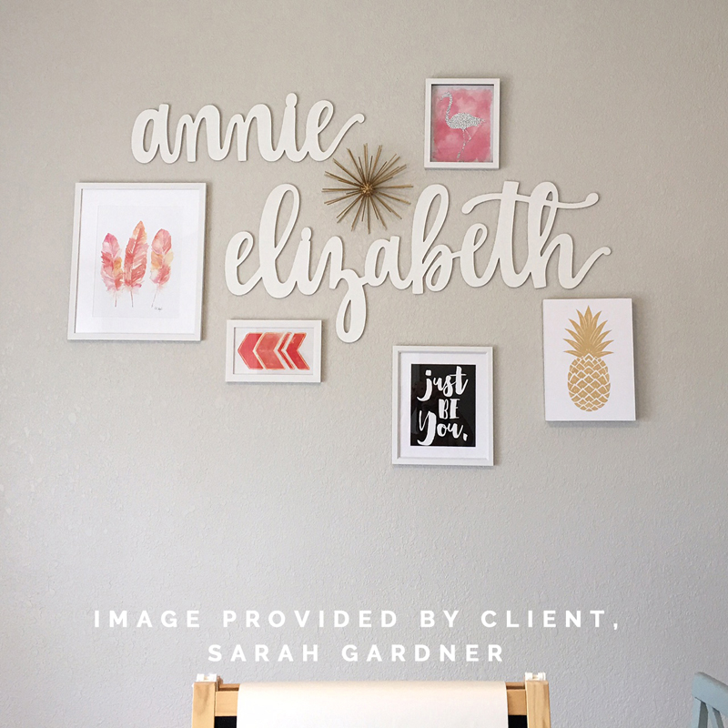 annie elizabeth hand-lettered laser-cut wood sign