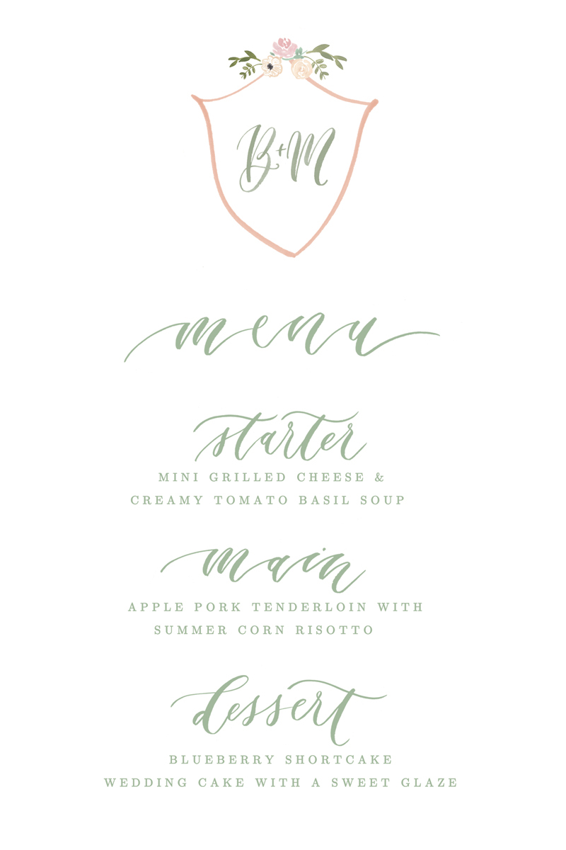 hand-lettered dinner menu for wedding