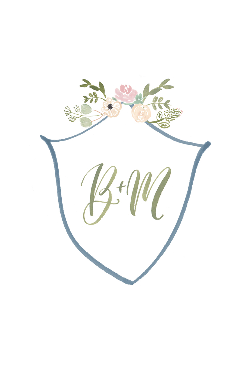 watercolor floral crest for wedding