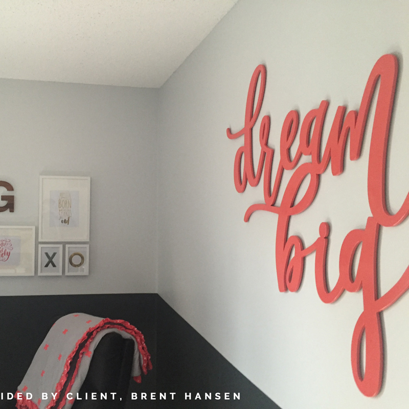 dream big hand-lettered laser-cut wood sign