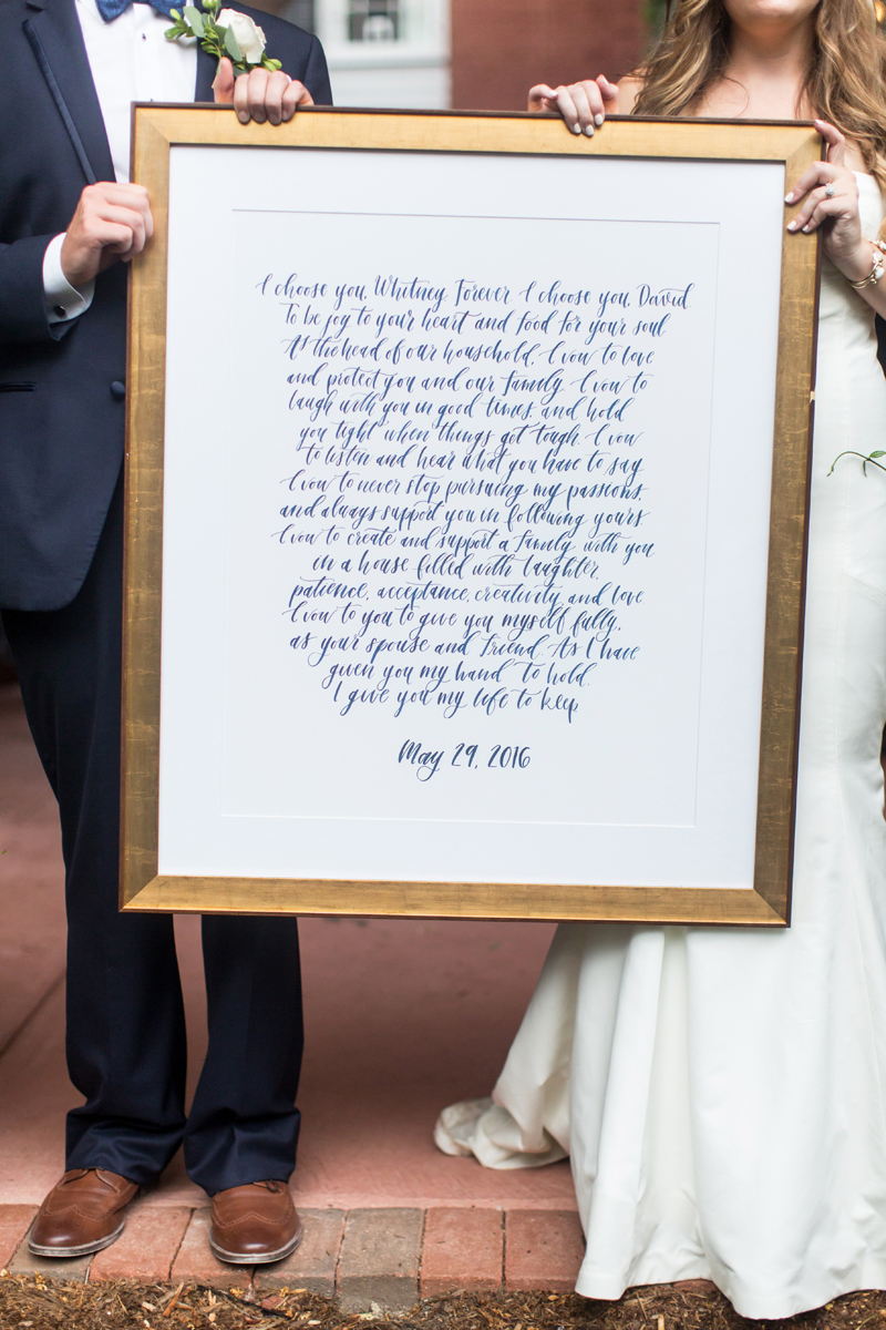 hand-lettered custom wedding vows