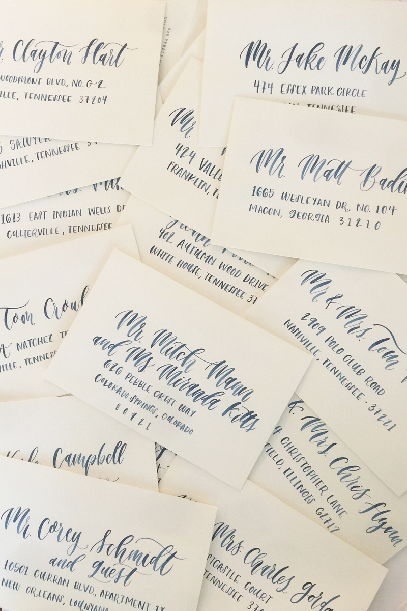 hand-lettered envelop addressing for wedding invitations