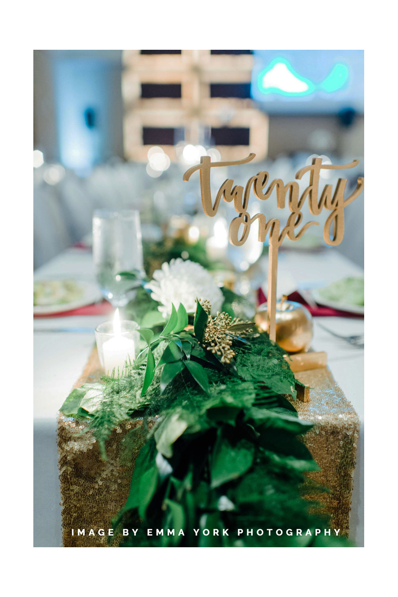 hand-lettered gold table numbers for wedding