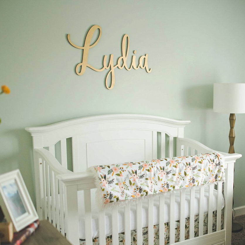 Lydia - Custom Hand-lettered laser cut baby name painted gold