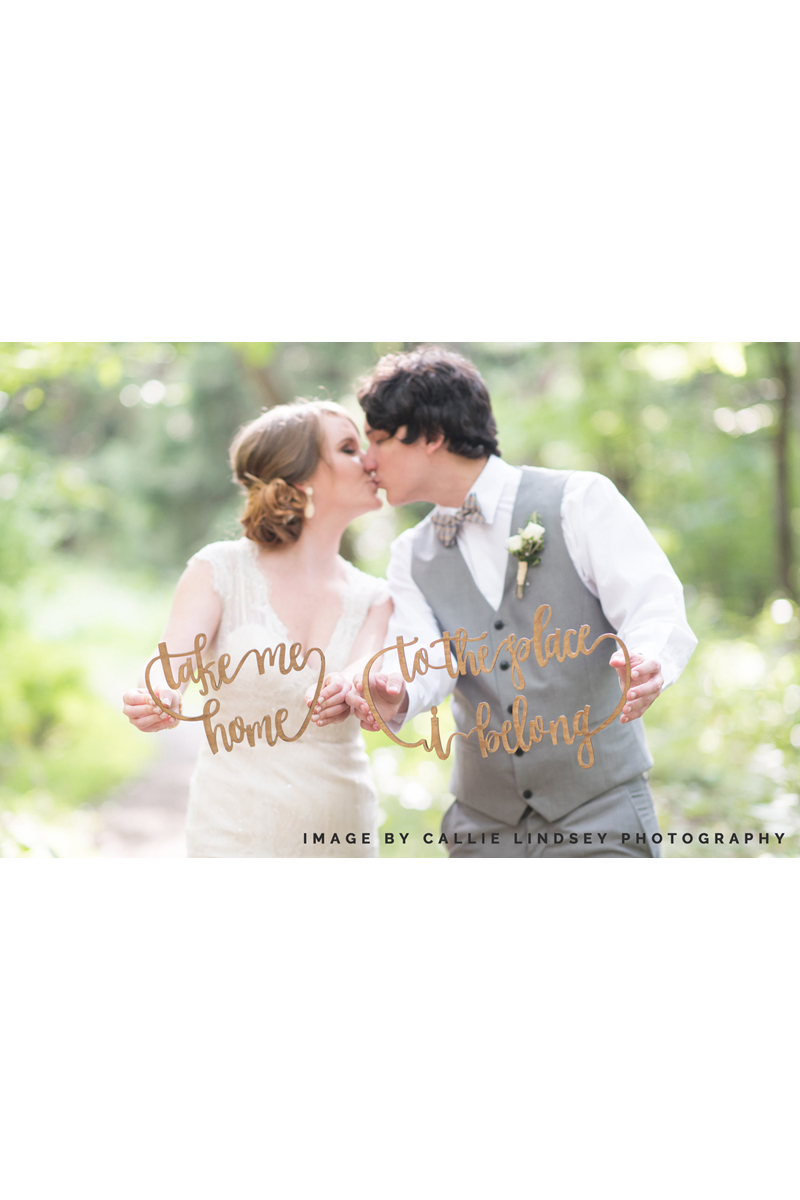 take me home to the place i belong hand-lettered laser cut chair signs for wedding