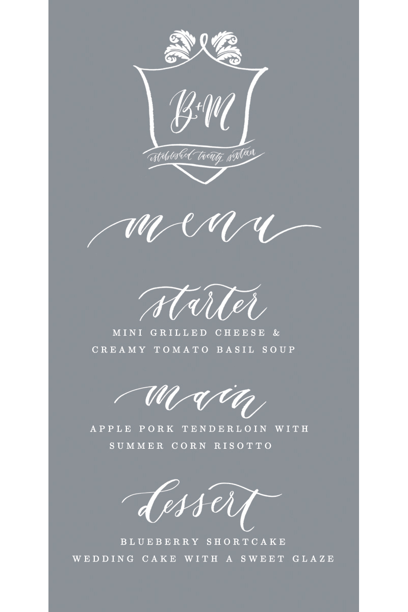 hand-lettered wedding dinner menu