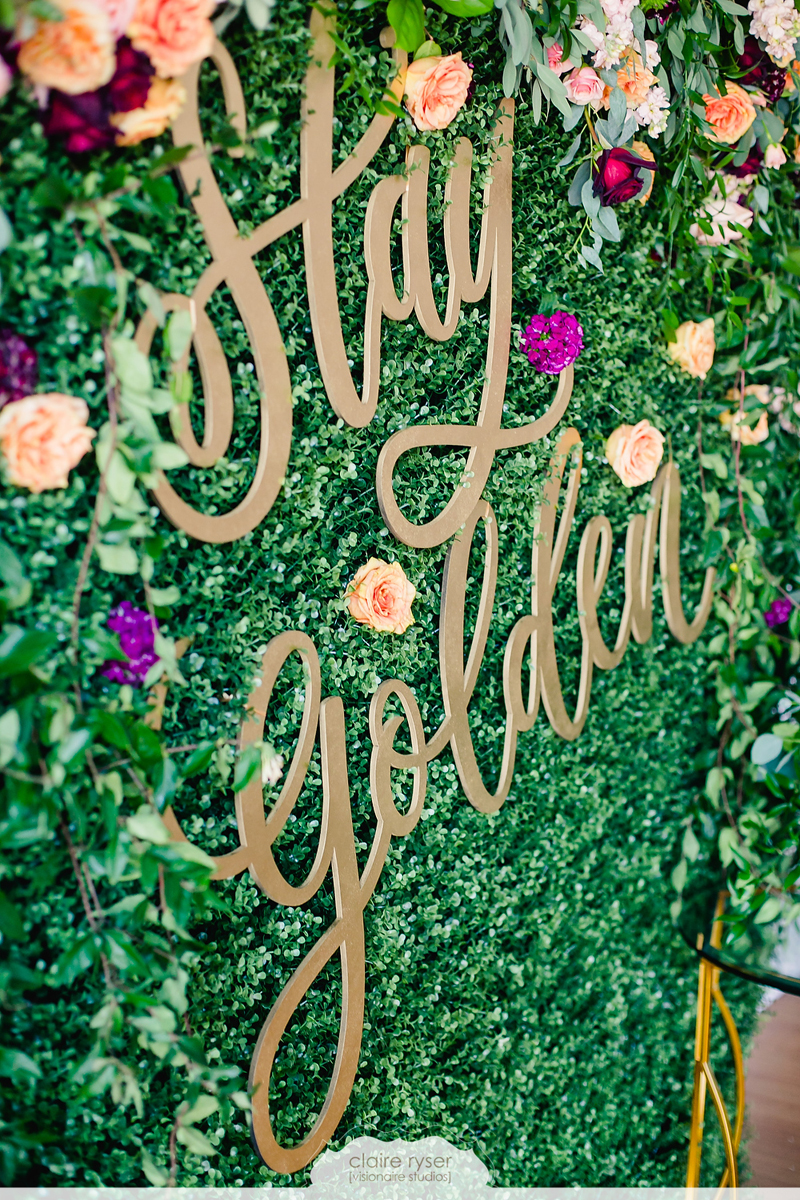 stay golden hand-lettered, laser cut wood sign for wedding