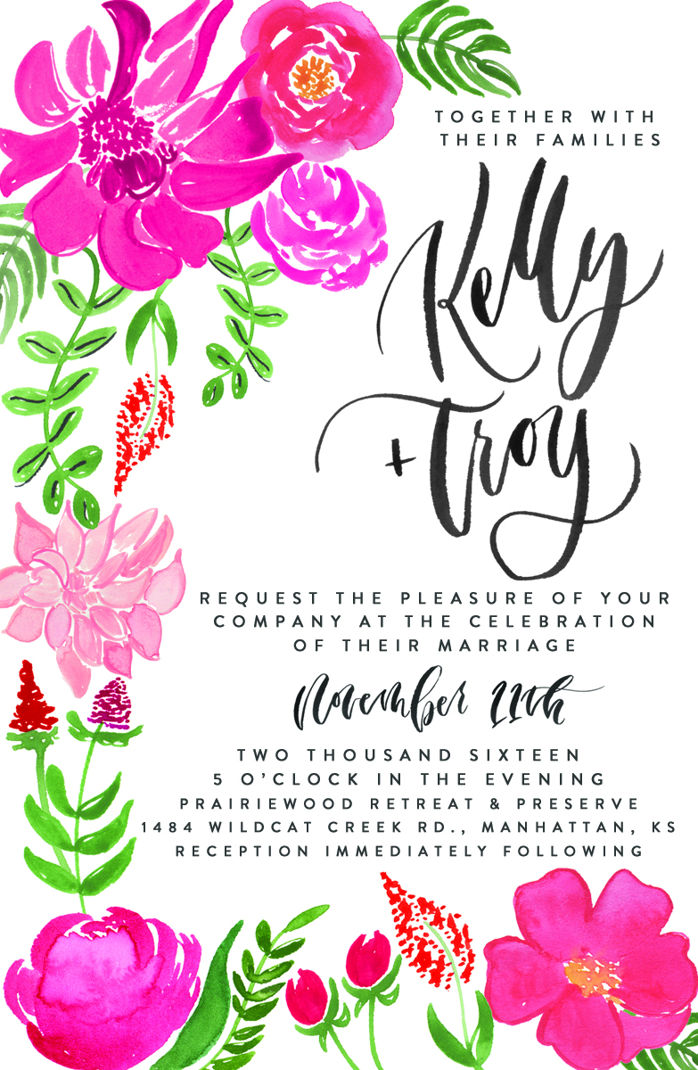 hand-lettered, hand-illustrated, water color custom wedding invitation