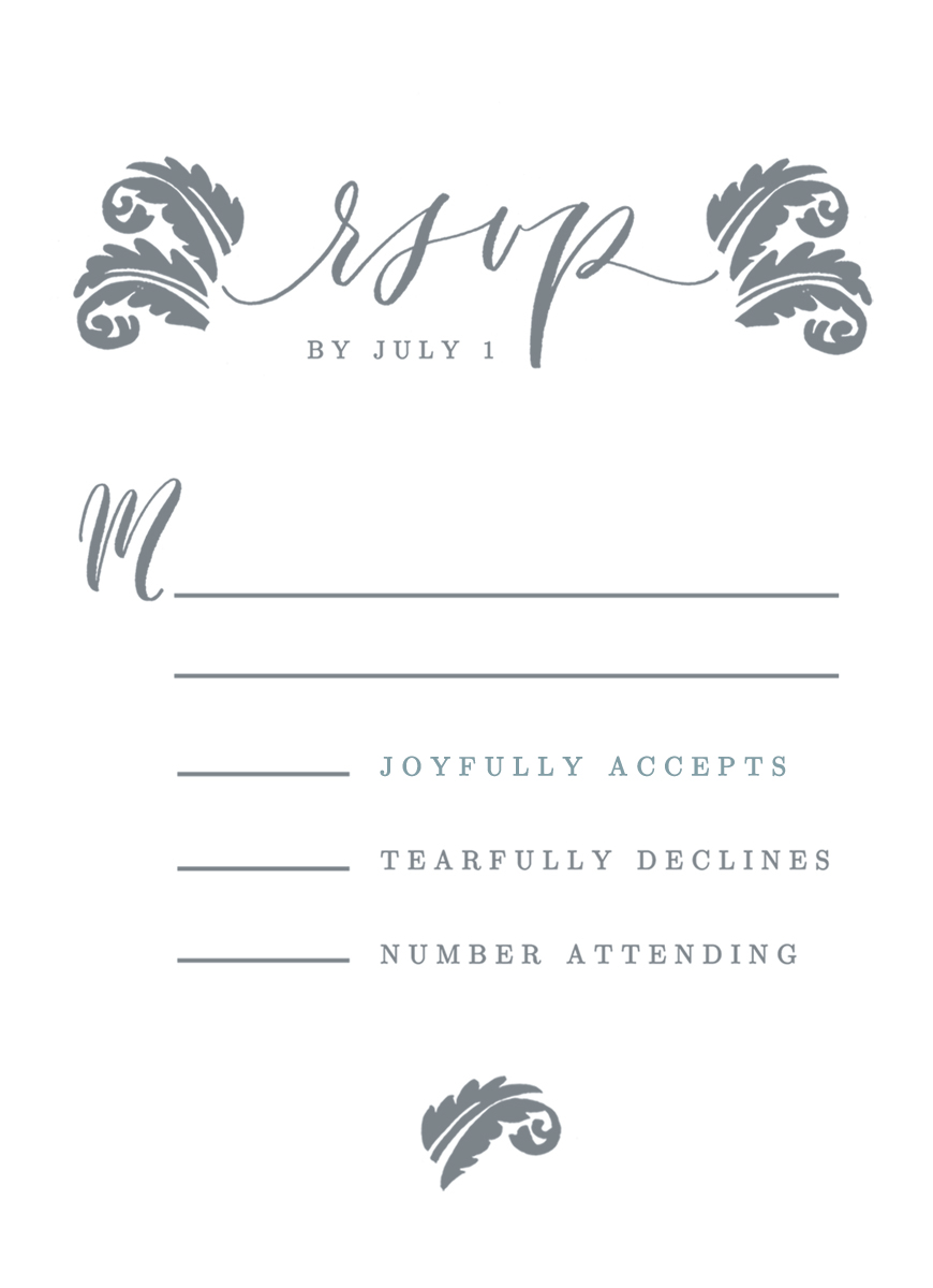 hand-lettered RSVP for wedding
