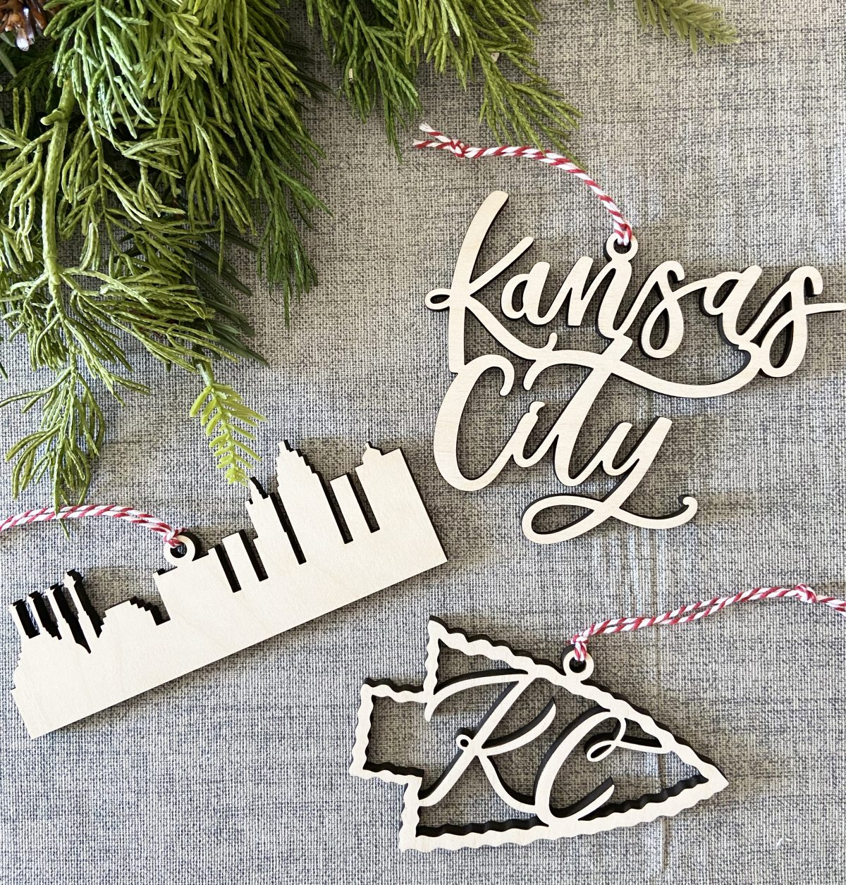 Kansas City hand lettered ornaments
