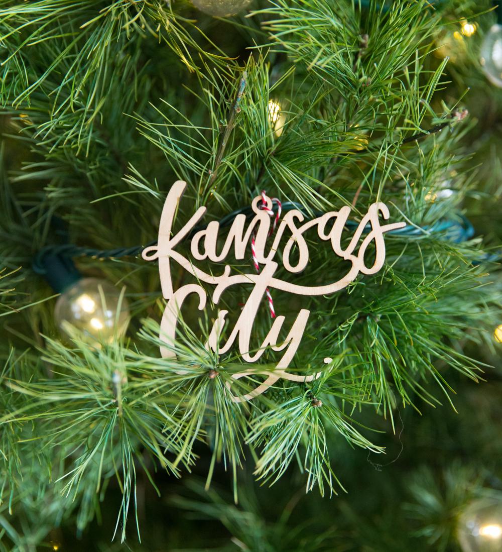 Kansas City skyline Christmas ornaments by local artist Lauren Heim
