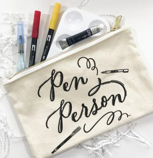 Brush lettering supplies and pouch