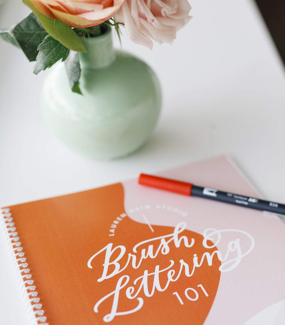 Brush lettering online workshop and workbook