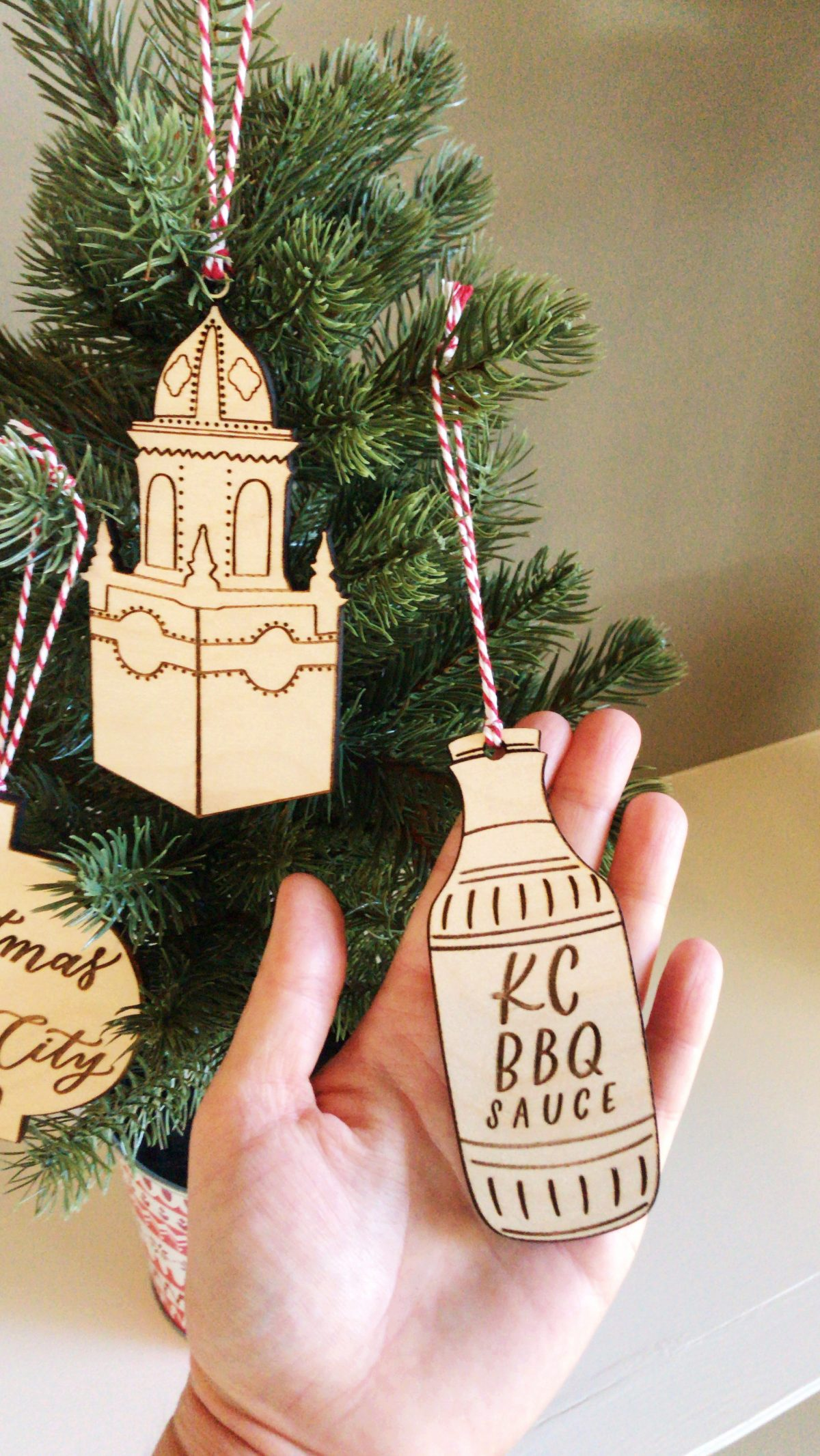 Kansas City BBQ sauce Christmas ornament
