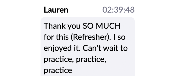 Virtual Workshop testimonial Lauren